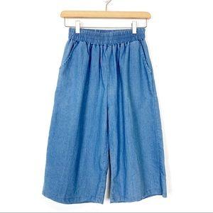 Vintage high waisted jean culottes capris wide leg